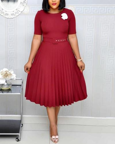 Solid Color Pleated Dress with Belt