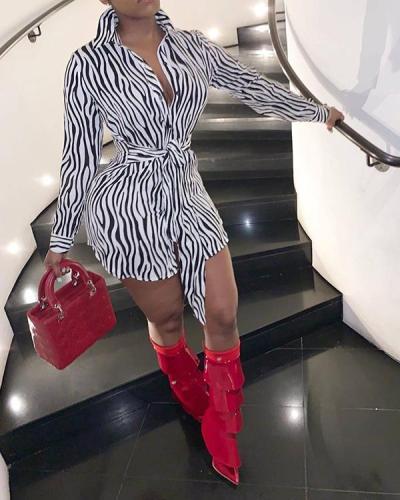 Zebra Pattern Curved Hem Knot Front Shirt Dress