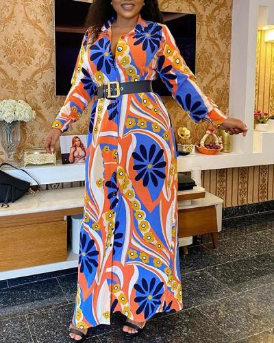 Plus Size Printed Lapel Long-sleeved Dress African Dress with Belt