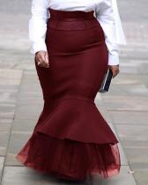 Plus Size Mermaid Patchwork Floor-Length High Waist Skirt