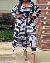 Casual Printed High Waist Pants With Long Coat