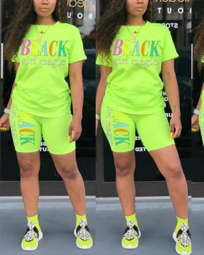 Casual Letter Print Sporty Top & Short Set