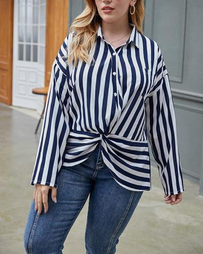 Retro Classic Striped Shirt Blouse