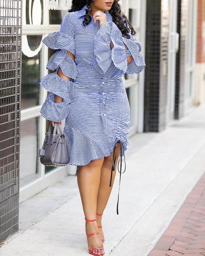 Layered Ruffled Sleeves Drawstring Tie Hem Striped Dress