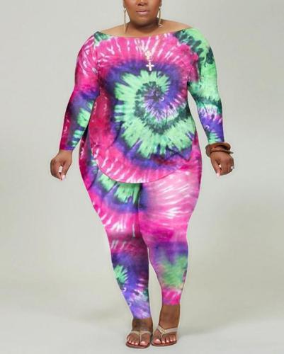Plus Size Casual Swirl Tie-dye Printed Long Sleeve Tops & Pants Suit