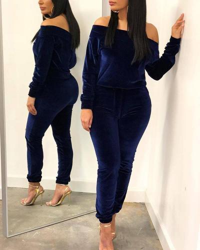 Off Shoulder Solid Color Velvet Two-piece Suit