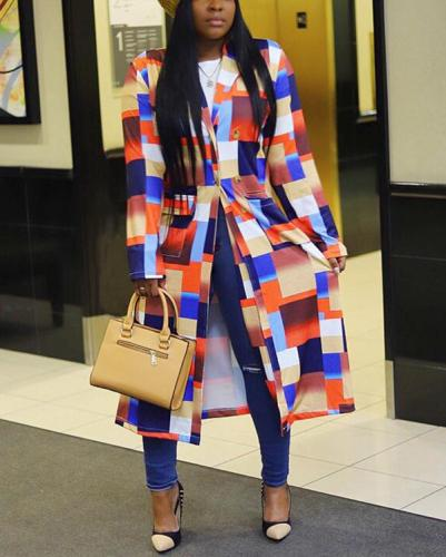 Plaid Print Double Breasted Lapel Trench Coat Long Outerwear