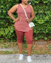 Plus Size Stripe Print Sleeveless Top & Shorts