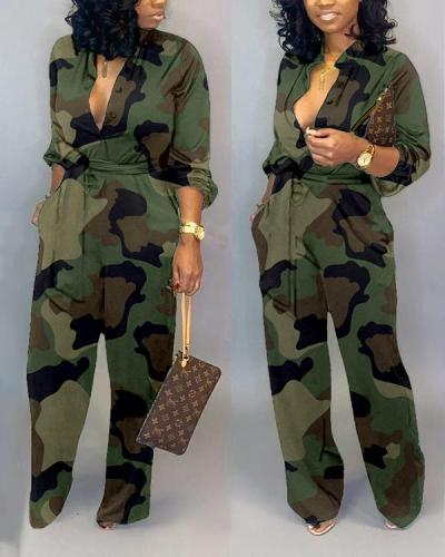 Pocket Wide Leg Pants Camouflage Tooling Jumpsuit