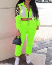 Patchwork Zipper Design Plus Size Two-piece Pants Set