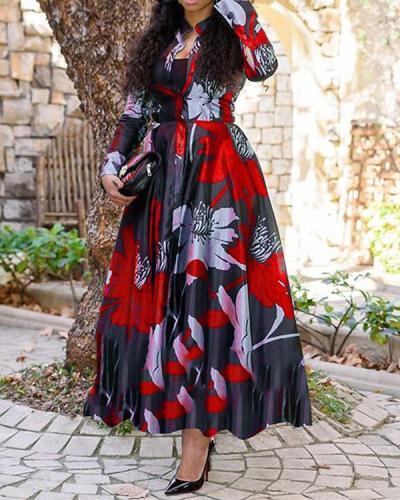 Plus Size A-line Print Maxi Dress