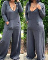 Leisure Deep V Neck Grey Plus Size One-piece Jumpsuit