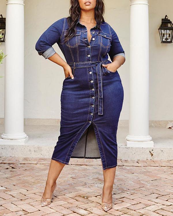 Button Up Lapel Long Sleeve Casual Plus Size Denim Dress