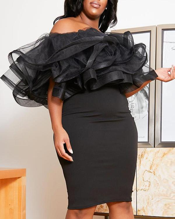 Off Shoulder Ruffles Mesh Splicing Sexy Bodycon Plus Size Dress
