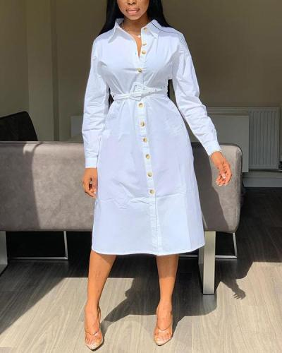 Fashion Solid Color Shirt Dress(Without Belt)