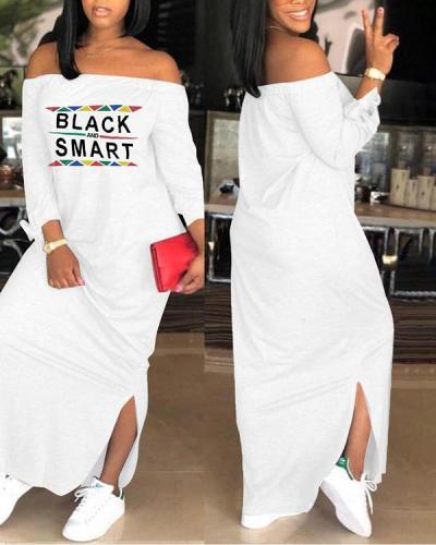 One-word Neck Long Sleeve Maxi Dress