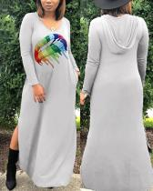 Fashion Rainbow Lips Offset Printed Hat Dress with Two Sides Splits