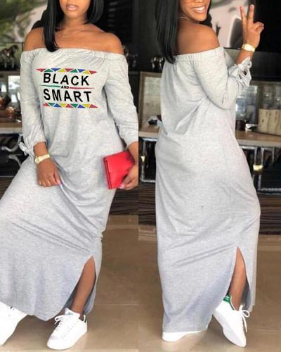 One-word Neck Long Sleeve Maxi Dress