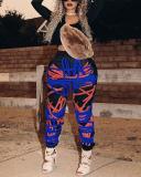 High Waist Casual Sports Print Contrast Pants