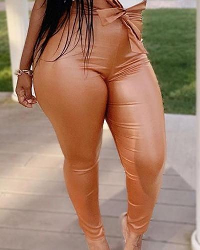 Street Lace-up Skinny Plus Size Pants
