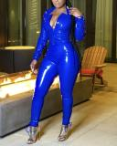Deep V Lapel Pull-up Sexy Tight Leather Suit