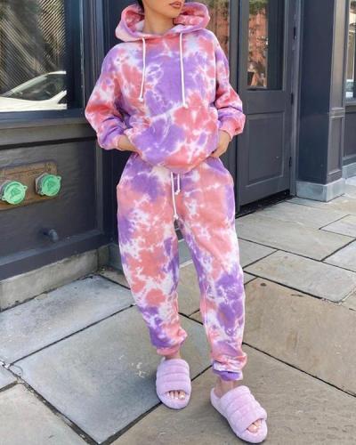 Hooded Collar Tie-dye Pink Plus Size Two-piece Pants Set