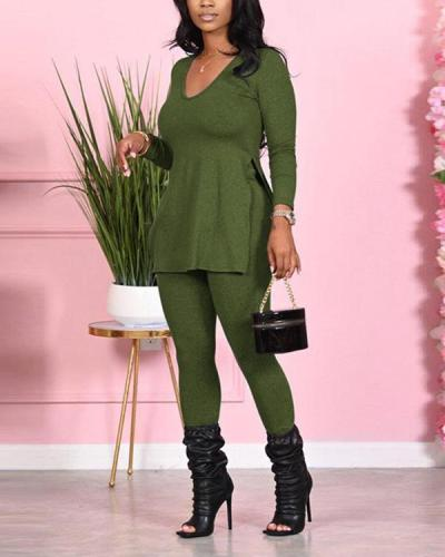 Side Slit Green Plus Size Two-piece Pants Set