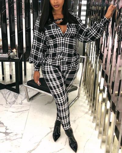 Turndown Collar Grid Print Black Plus Size Two-piece Pants Set