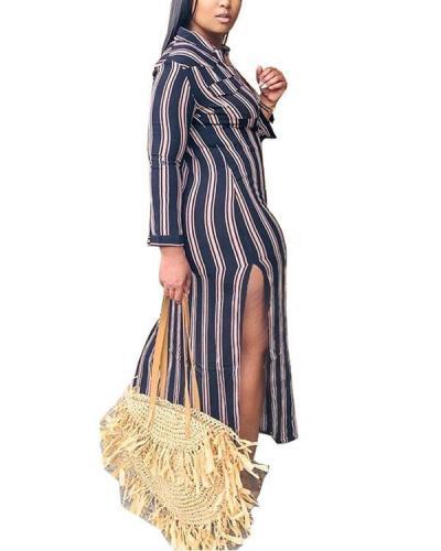 Plus Size Women's Printed Striped V-neck Dress