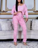 Casual Drawstring Short Top Solid Color Pleated Pants Suit
