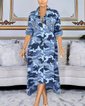 Stand-up Collar Loose Camouflage Print Shirt Dress