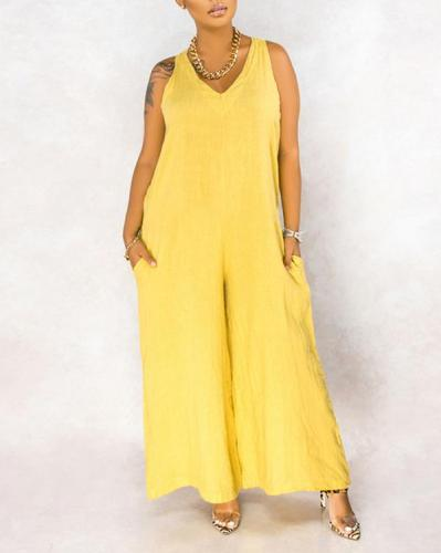 Plus Size Women's Loose Sleeveless Lace Wide Leg Casual Jumpsuit