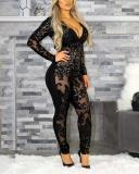 Slim Sequin Perspective Deep V Bodysuit Jumpsuit