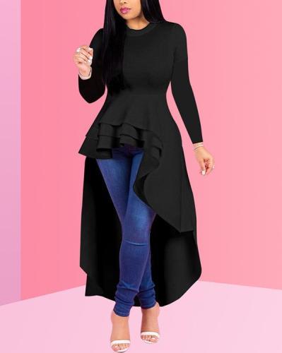 Fashion Evening Dress Long Sleeve Ruffle Tops Dress