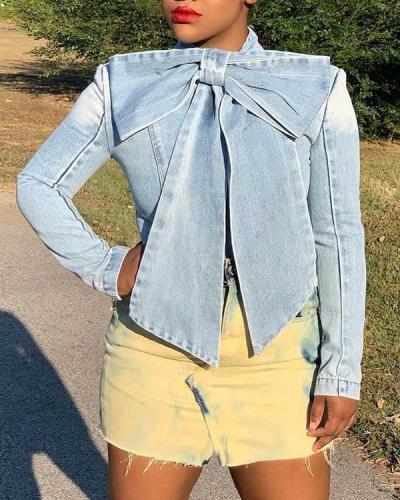 Plus Size Bowknot Denim Jacket