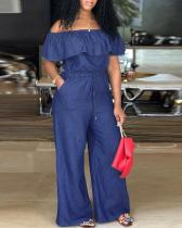 Sexy Off-shoulder Ruffled Plus Size Jumpsuits Jeans