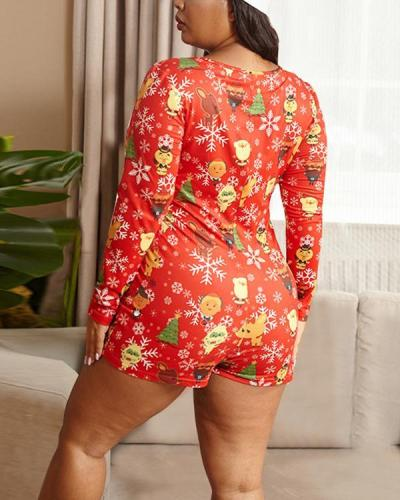 Christmas Living Long Sleeve Print Plus Size Romper