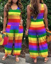 Rainbow Striped Loose Jumpsuit