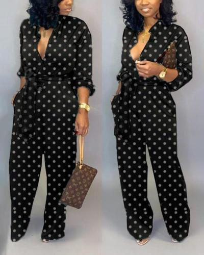 Dot Print Long-sleeved Jumpsuit Trousers