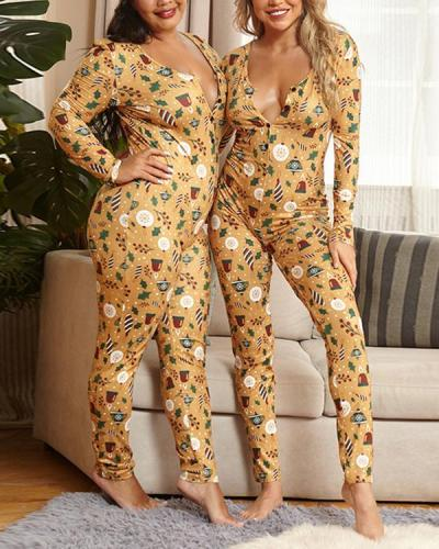 Christmas Pattern Plus Size Casual Jumpsuits