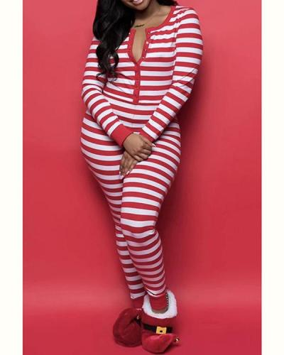 Christmas Print Striped Long Sleeve Jumpsuit