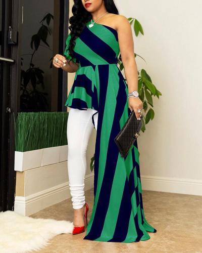 One Shoulder Striped Dress Top