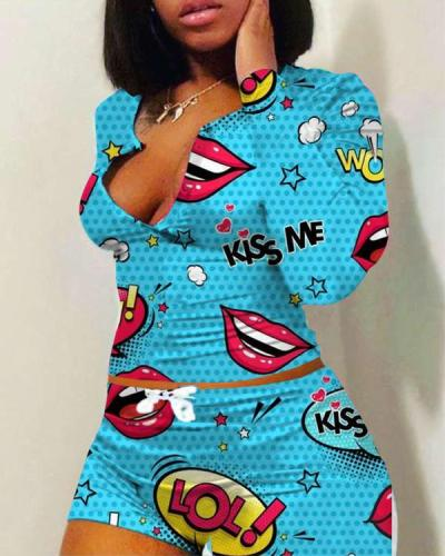 Cute Long-sleeved Print Loungewear Plus Size Casual Suits