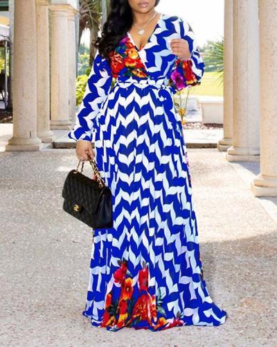 V Neck Chiffon Print Maxi Dress