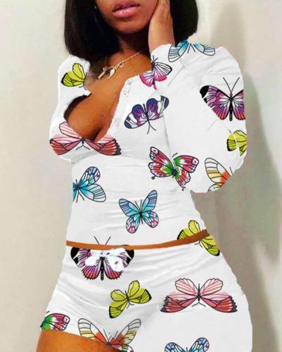 Cute Butterflies Print Loungewear Plus Size Casual Suits