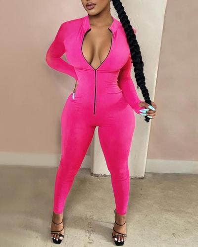 Plus Size Solid Color Long Sleeve Finger Zip Jumpsuit