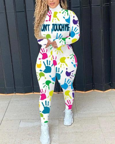 Rib Print Long-sleeved Zipper Sports Jumpsuit