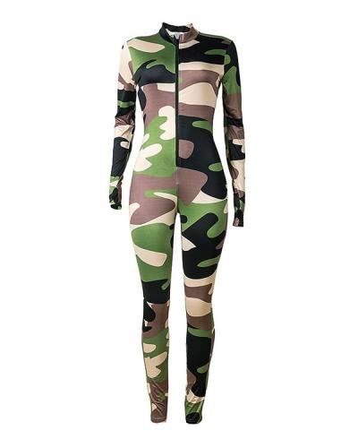 Plus Size Camouflage Long Sleeve Finger Zip Jumpsuit