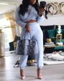 Cross-over Design Grey Plus Size Two-piece Pants Set