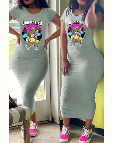 Cartoon Distressed Short Sleeve Dress